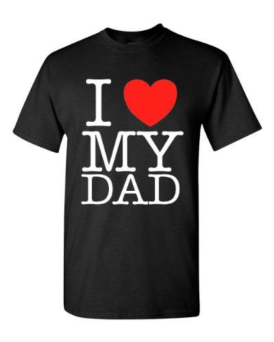 Ptshirt.com-19369-I Love Heart My Dad Adult Black T-Shirt Tee-B00D1NDY42-T Shirt Design
