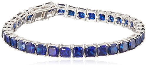Created Blue Sapphire Cushion Cut Tennis Bracelet in Sterling Silver (5mm)