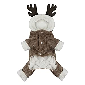 Cartoon Puzzle Elk Moose Soft Warm Coral Fleece Pet Hoodie Coat Jacket Winter Thick Velvet Party Dress Up Hooded Clothes Sweater Jumpsuit Christmas Halloween Costume Apparel for Puppy Dogs Cats (S)