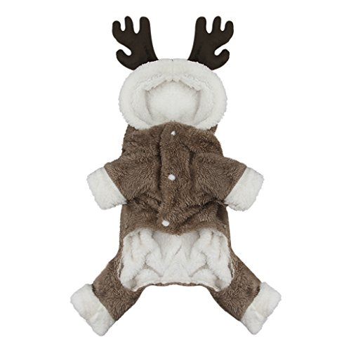 (Cute Cartoon Pet Reindeer Cosplay Halloween Christmas Elk Moose Costume Dog Puppy Hoodie Coat Jacket Clothes Soft Coral Velvet Fleece Winter Warm Hooded Sweater Jumpsuit Outfit Apparel for Dogs)