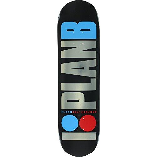 Plan B Og Foil Skateboard Deck -8.0 Black/Sil/Blue/Red DECK ONLY