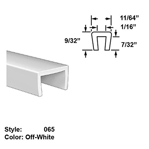 Food-Grade Nylon Plastic U-Channel Push-On Trim, Style 065 - Ht. 9/32'' x Wd. 11/64'' - Off-White - 25 ft long by Gordon Glass Co.