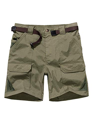 Women's Outdoor Casual Expandable Waist Lightweight Water Resistant Quick Dry Cargo Fishing Hiking Shorts - Khakis Hiking