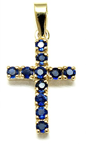 14K White Gold Cross shaped Pendant with AAA quality Sapphires