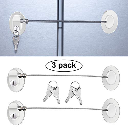 3 Pieces Refrigerator Door Lock Strong Adhesive Freezer Door Lock File Drawer Lock Child Safety Cupboard Lock with Keys (White)
