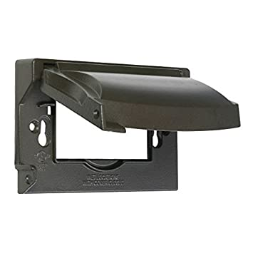 Hubbell Bell MX1250Z Weatherproof Single Outlet Cover Outdoor Receptacle  Protector, Bronze, Horizontal Flat Part 38