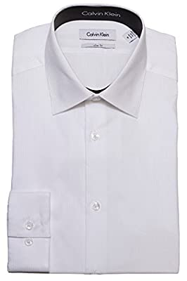 Calvin Klein Tone/Tone Stripe Slim Fit 100% Cotton Solid Dress Shirt - 33T046