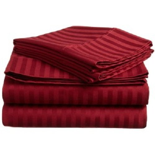 Deep Red Finish - Both Pattern Solid/Stripe 400 Thread Count 100% Pima Cotton 1-Piece- Fitted- Sheet with 20-25 inches Extra Fit Deep Pocket Hotel Finish Adjustable Room (Olympic Queen , Stripe , Burgundy).
