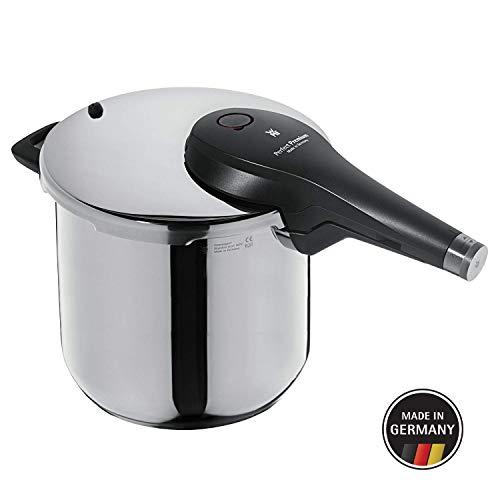 WMF Perfect Premium Schnellkochtopf 6,5l, Schnelltopf 22 cm, Cromargan Edelstahl poliert, Induktion, 2 Kochstufen, All-In-One Drehknopf