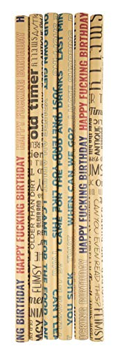 6 Pack Funny and Offensive Birthday Wrapping Paper in 3 Assorted Kraft Designs, 30 Inches x 10 Feet