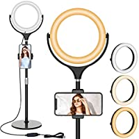 8″ LED Selfie Ring Light with Stand & Cell Phone Holder, Adjustable Beauty Camera Ringlight for Makeup/Live Stream/YouTube Video/Vlogs/Photography, Compatible for iOS Android