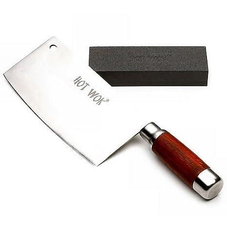 Hot Wok HW5761 - Juego de cuchillo de carnicero y piedra ...