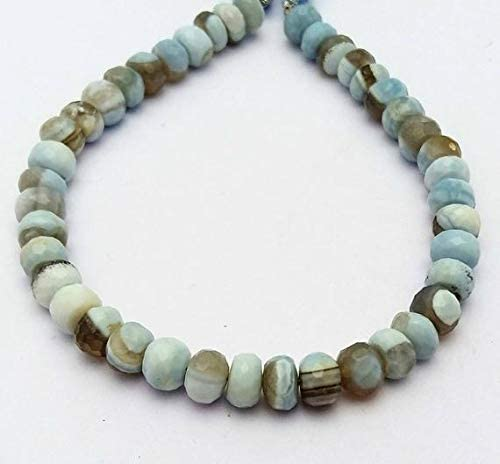 """Beads Bazar Natural Beautiful jewellery 1 strand Amazing quality BLUE OPAL,boulder opal faceted beads,rondelles beads, 6.5 mm to 7 mm Approx, 8""""strand [E1277] boulder opal beadsCode:- NY-7980"""
