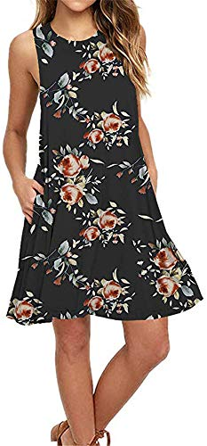 Summer Beach Dresses for Women Tshirt Sundresses Boho Casual Sleeveless Floral Shift Pockets Swing Loose Damask BF Small