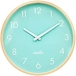 HIPPIH Large Silent Wall Clock - 12 Inch Non Ticking Digital Quiet Sweep Decorative Vintage Wooden Clocks (Green)