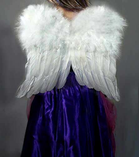 SACASUSA (TM) Small White Feather Angel Fairy Wings for kids with Free Halo (Large White Feather Angel Wings)