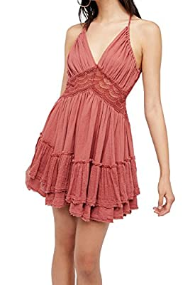 R.Vivimos Women Summer Ruffles V Neck Backless Beach Short Dresses