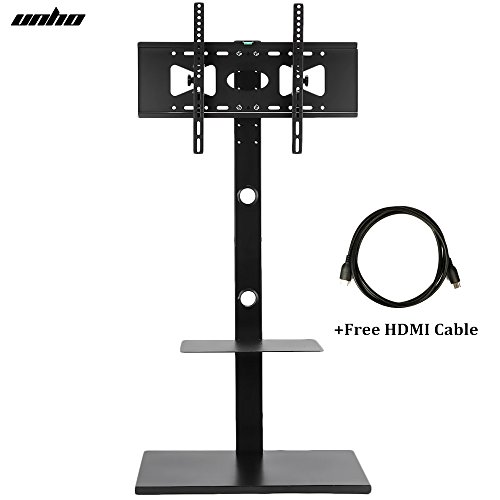 UNHO Swivel TV Floor Stand and Mount with Two Shelves & Free Cable for 32-65 Inch TV for Samsung Phillips TV (Phillips Television Stand)