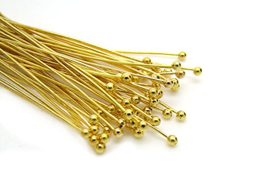 - 200pc Gold Solid Brass Head Ball pins for Jewelry Making- Nickel Free Hypoallergenic- 50mm (2 inch), 22 Gauge
