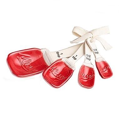 Red Ceramic Mason Jar Measuring Spoons
