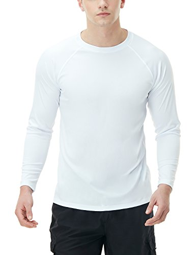 TSLA Men's UPF 50+Swim Shirt Swim Long Sleeve Tee Rashguard Top, Basic Sun Block(mss03) - White, X-Small