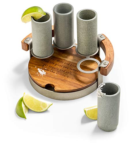 Best Tequila - GiftTree Personalized Tall Shot Glass Holder Set   Wood Carrier Tray & 4 Soapstone Shooters   Best for Tequila & Hard Liquors   Personalized Wood Cutting Board   Great Gift for Birthday, Housewarming