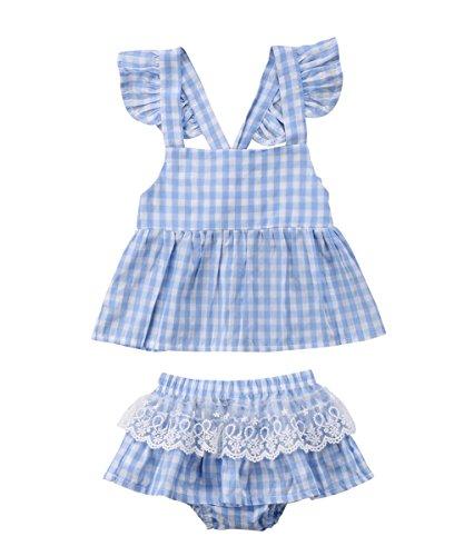 yannzi Newborn Baby Girls Dress Clothes Sleeveless Plaids Top Romper Lace Tutu Skirt Bloomers Shorts 2Pcs Sunsuit (Plaid, 6-12 Months) 70 (Spring Dress Bloomers)