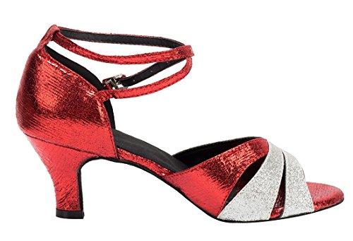 TDA - Zapatos con tacón mujer 6cm Heel Red Silver