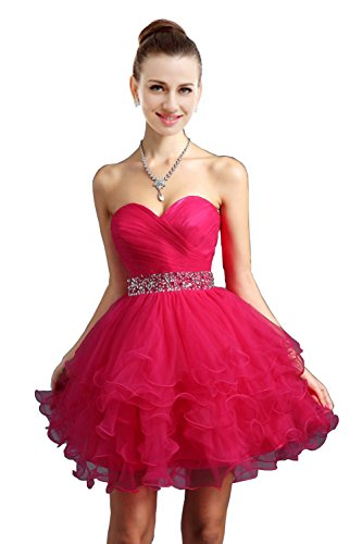 VaniaDress Women Crystals Tulle Short Homecoming Evening Dress V021LF Fuchsia US4