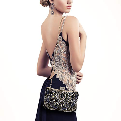 Womens Evening Bag/Clutch,Vintage Handmade Wedding Party Handbag/Purse/PartyBag, Packed in Gift Box(Black-Beaded) by zebrum (Image #1)