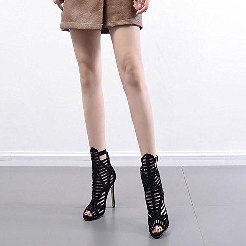 de negro Alto GAOLIXIA Mujer Dorado tacón Roma Color de diseño Sandalias para RWRfPO40