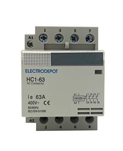 Electrodepot 60 Amp 4 Pole Normally Open IEC 400V Contactor (Silent Operation) – 110/120VAC Coil, Inductive 40A, Resistive 60A with Mounting Base for DIN Rail
