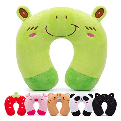 - HOMEWINS Travell Pillow for Kids Toddlers - Soft Neck Head Chin Support Pillow, Cute Animal, Comfortable in Any Sitting Position for Airplane, Car, Train, Machine Washable, Children Gifts (Frog)