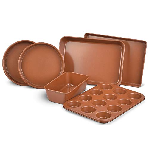 Bakeware Set 6 PCS Nonstick Copper Cooking Cake Pan Meatloaf Muffin Cups by GPM (Image #2)