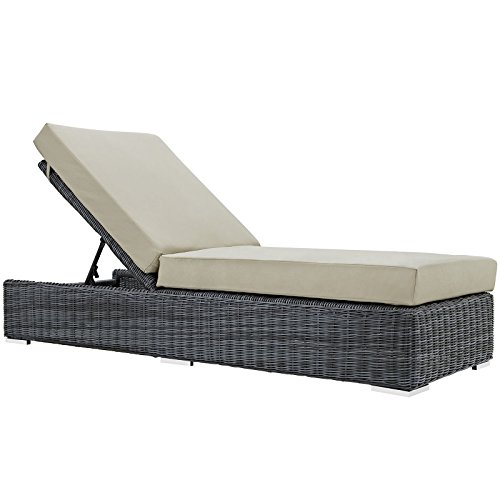 Modway Summon Outdoor Patio Chaise Lounge With Sunbrella Brand Antique Beige Canvas Cushions