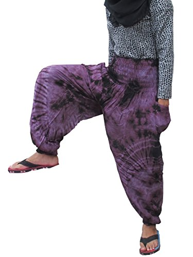 Cheap 'Welcome2Bangkok' TIE DYE FISHERMAN YOGA PANTS HIPPIE BAGGY TROUSERS RAYON FREE SIZE