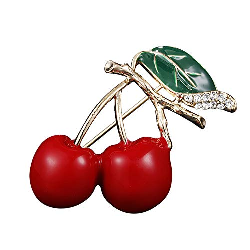 Red Enamel Cherry Metal Brooch Pin Button Crystal Brooch Sweater Clip Jewelry