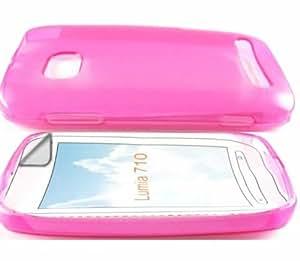 Transparent Gel Cubrir Caso Piel Y Pantalla LCD De Guardia Para Nokia Lumia 710 / Pink