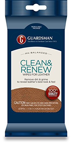 Guardsman Clean & Renew Leather Wipes - 20 Count - Removes Dirt & Grime, Great For Leather Furniture & Car Interiors - 470200