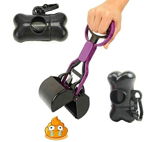 Cocobuy Portable Pooper-Scooper Pet Waste Pooper Scooper Cleaner + Bone-Shaped Waste Bag Dispenser & 1 Roll of Bag