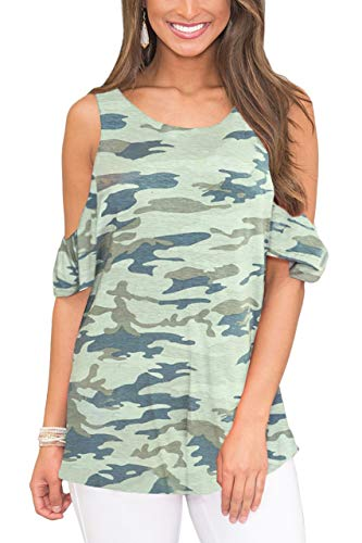 (Women's Casual Short Sleeve Flowy Swing Shirt Loose Cold Shoulder Floral Printed Tunic Tops Grey L)