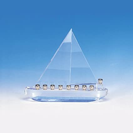 Amazon Com Judaica Menorah Hanukkah Crystal Sailboat Home Kitchen