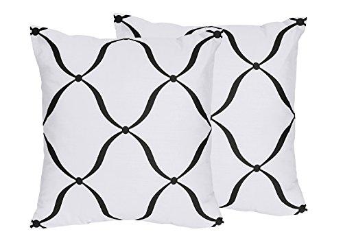 Sweet Jojo Designs 2-Piece Black and White Princess Designer Decorative Accent Throw Pillows by Sweet Jojo Designs