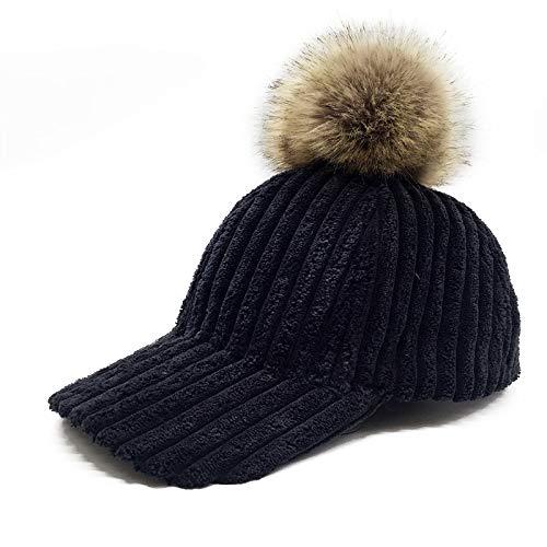(HHF Caps & Hats Women Street Corduroy Chic Baseball Cap Knit Hat Chunky Baggy Hat (Color : Black, Size : Freesize))