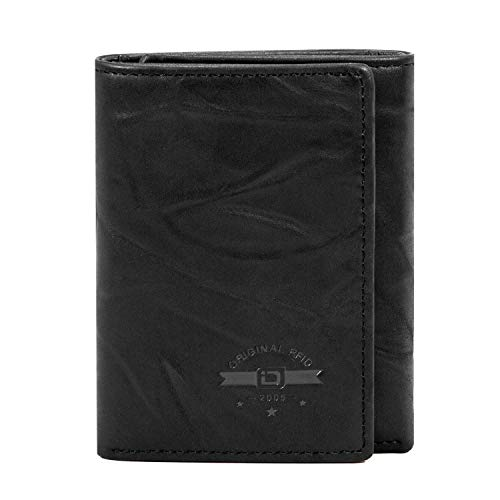 ID Stronghold RFID Blocking Trifold Wallet for Men - Crazy Horse Western Leather
