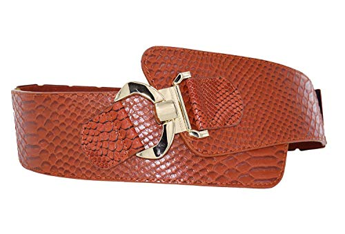TeeYee Women Wide PU Leather Belt Textured Solid Color Waist Band Elastic Stretch Belts