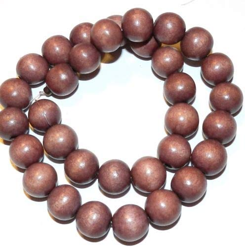 W340 Burgundy Brown 12mm Round Wood Beads 15'' Crafting Key Chain Bracelet Necklace Jewelry Accessories ()