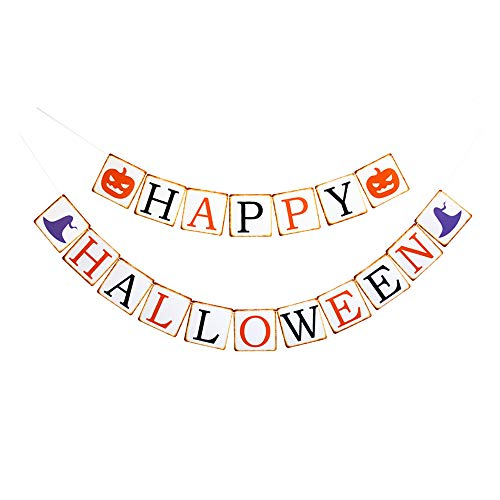 Happy Halloween Banner, Halloween Party Decorations Sign Photoprops Vintage Paper Garland