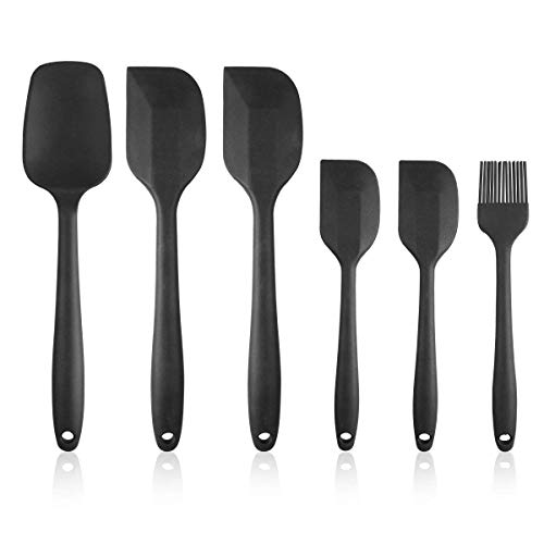 (Heat Resistant Silicone Spatula Set - 6 Piece Non-Stick Rubber Spatula Set with Stainless Steel Core - 500F Heat-Resistant Spatula Kitchen Utensils Set for Cooking, Baking and Mixing - Black )