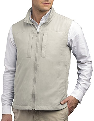 SCOTTeVEST Men's Featherweight Vest - 14 Pockets - Travel Clothing CMT - Drone Sunglasses